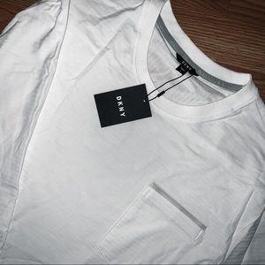 DKNY • white shadow stripe long sleeved tee